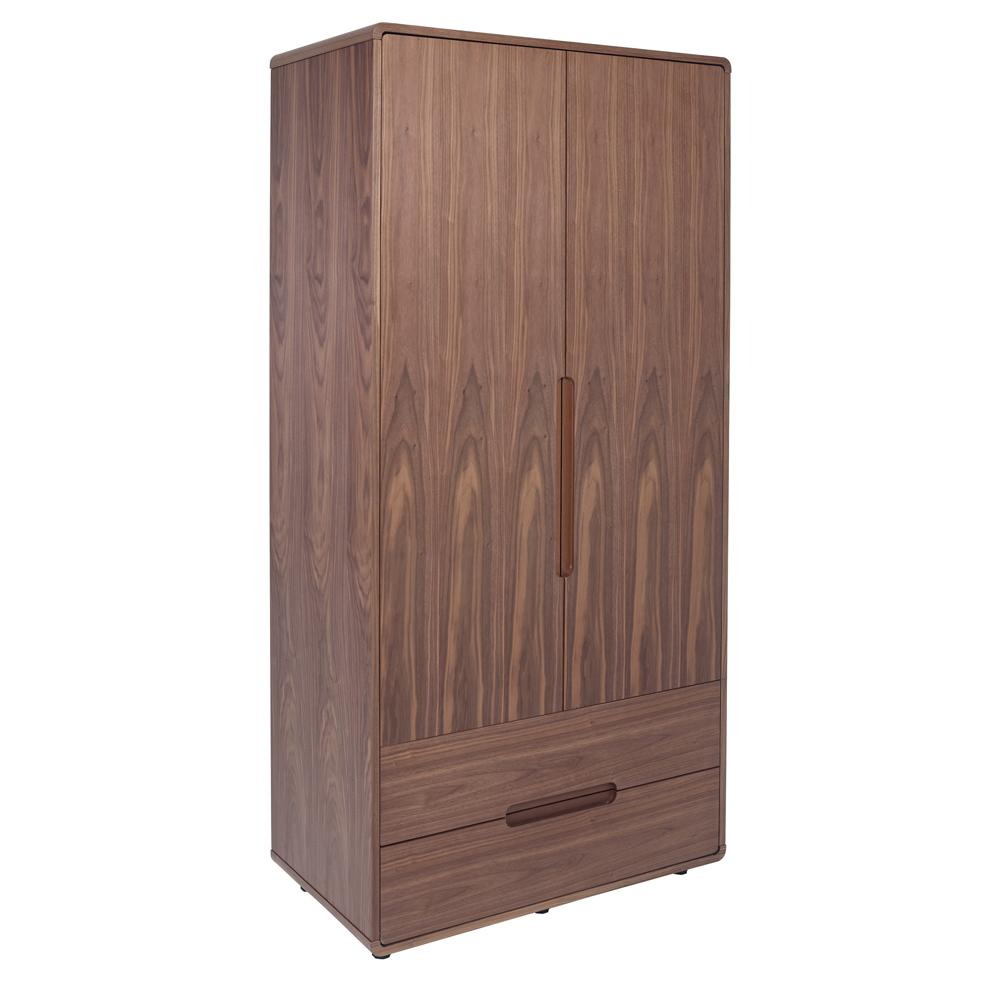Notch II wardrobe two door with drawers walnut