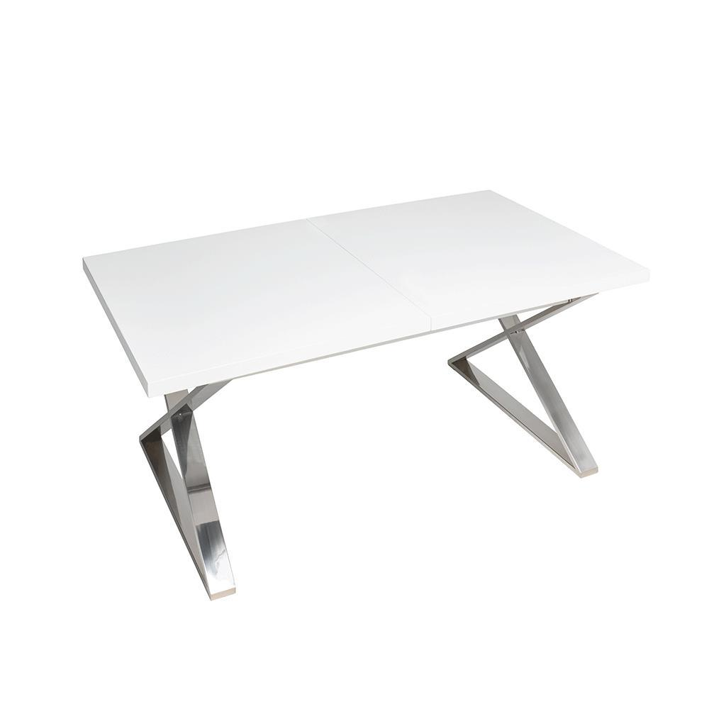 Attra extending 6-10 seater dining table chrome legs white