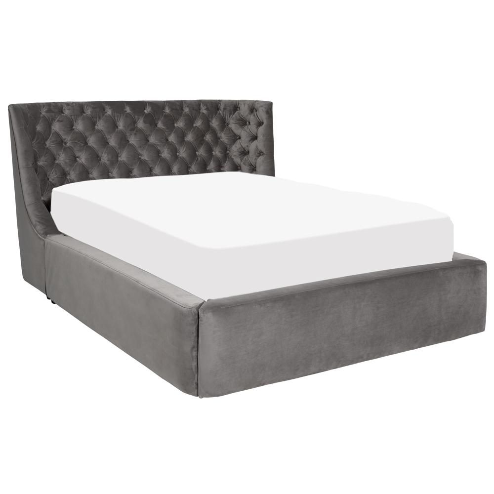 Cavendish II velvet double bed with storage grey