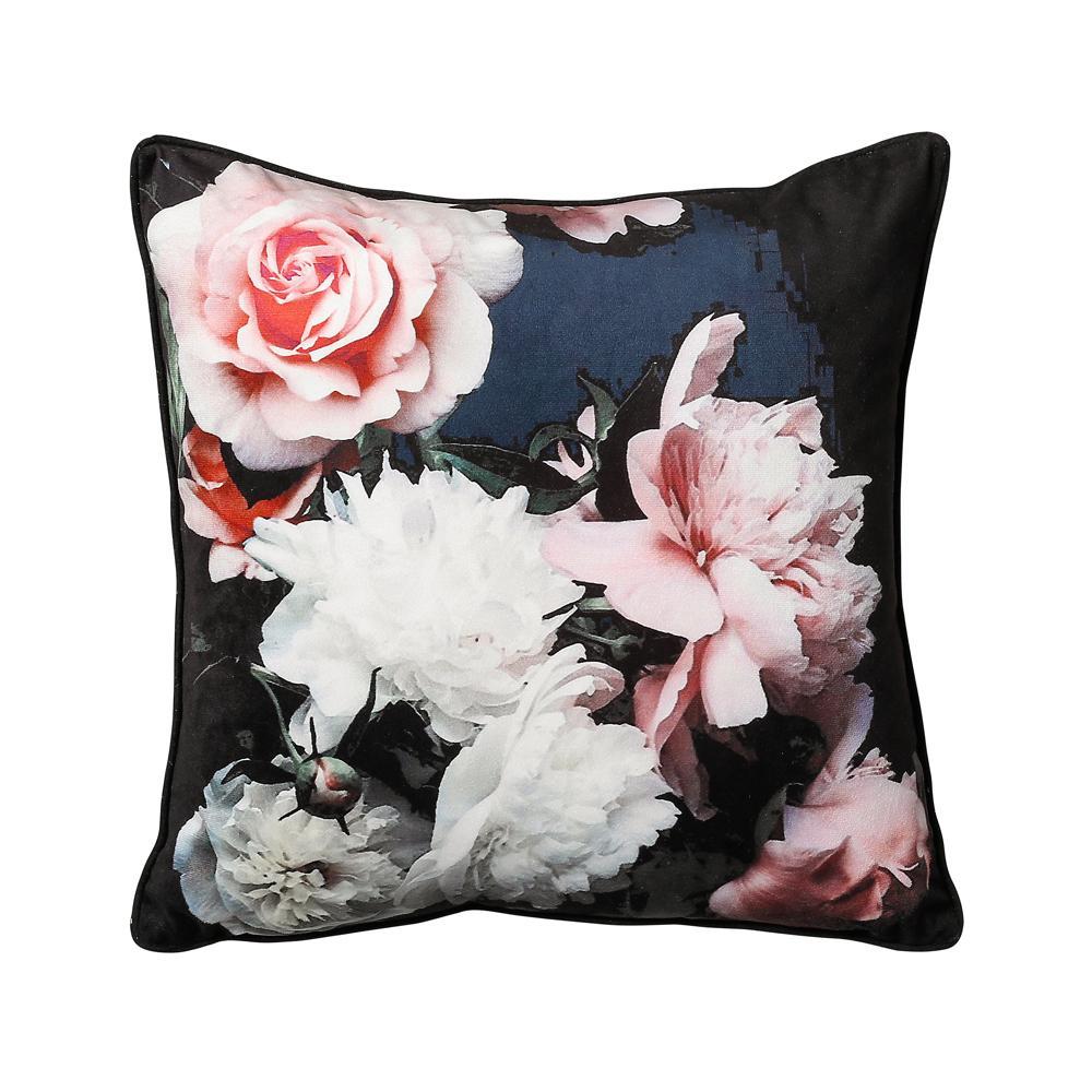 Floral Cushion Black Dwell