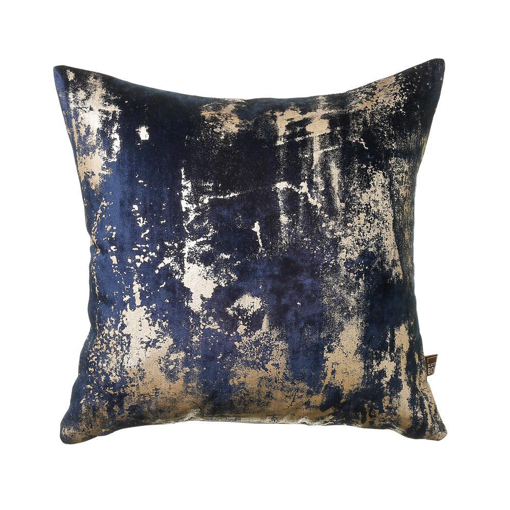 Otello metallic velvet cushion navy