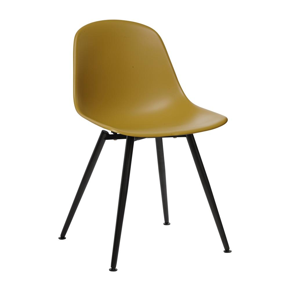 Plex dining chair mustard with black leg