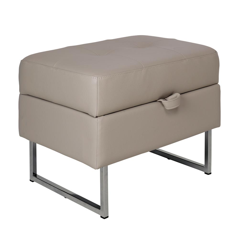 Paris II storage footstool grano leather dove grey