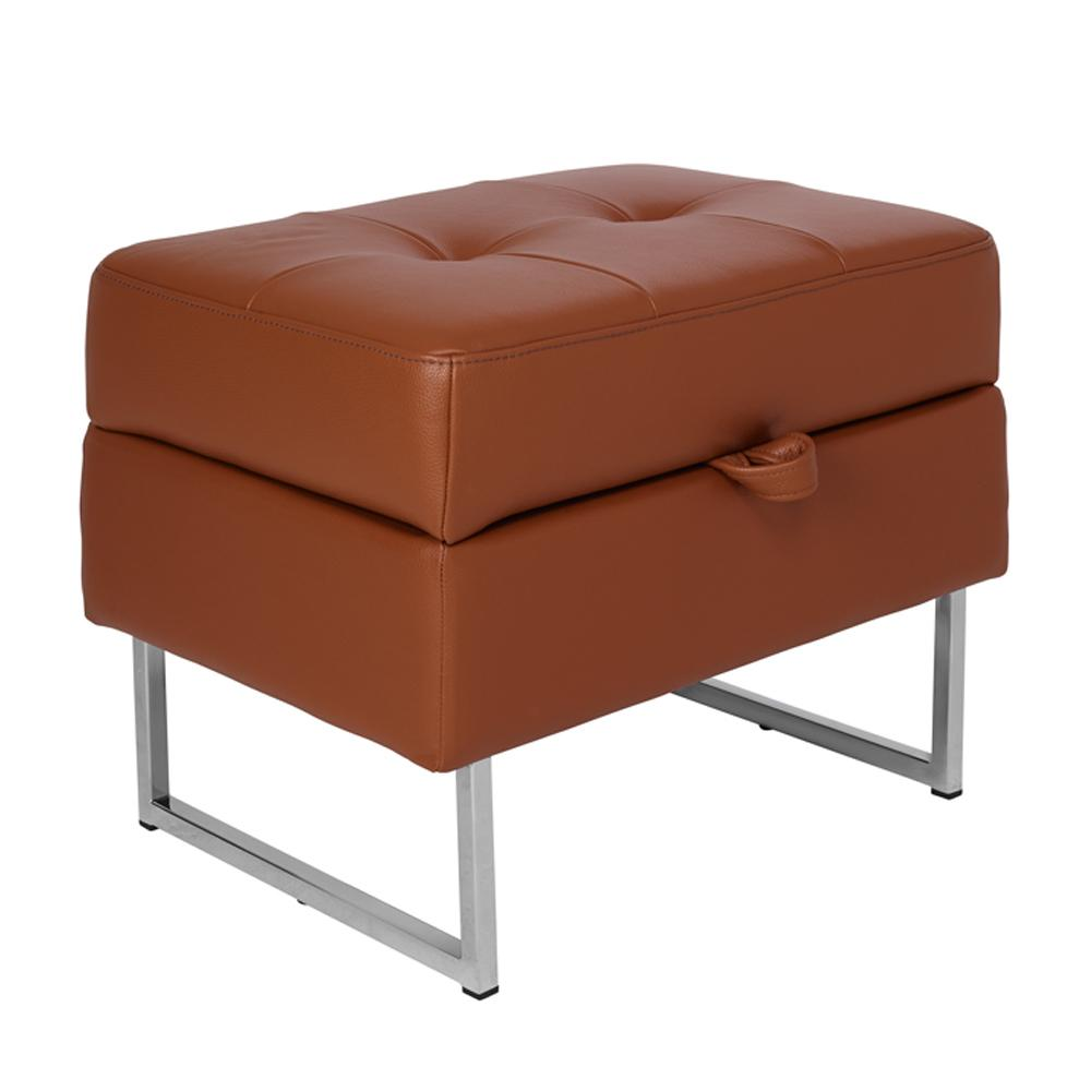 Paris II storage footstool grano leather natural tan