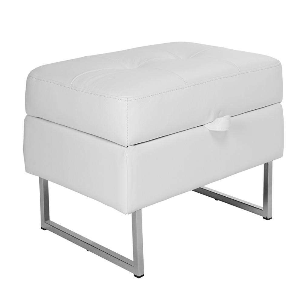 Paris II storage footstool grano leather brilliant white