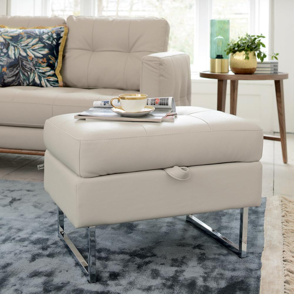 Paris II storage footstool grano leather stone