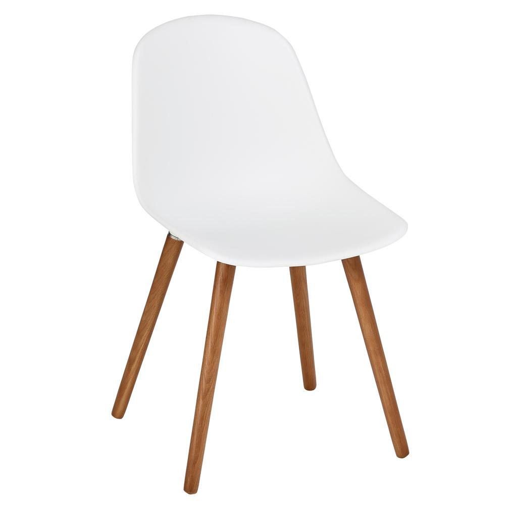 Plex dining chair with walnut leg white