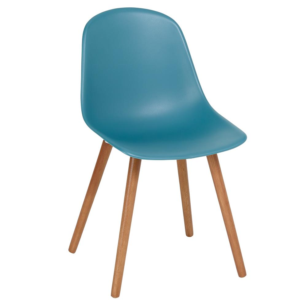 Plex dining chair with walnut leg teal