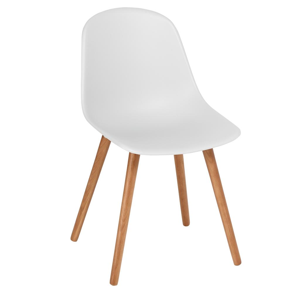 Plex dining chair with walnut leg light grey