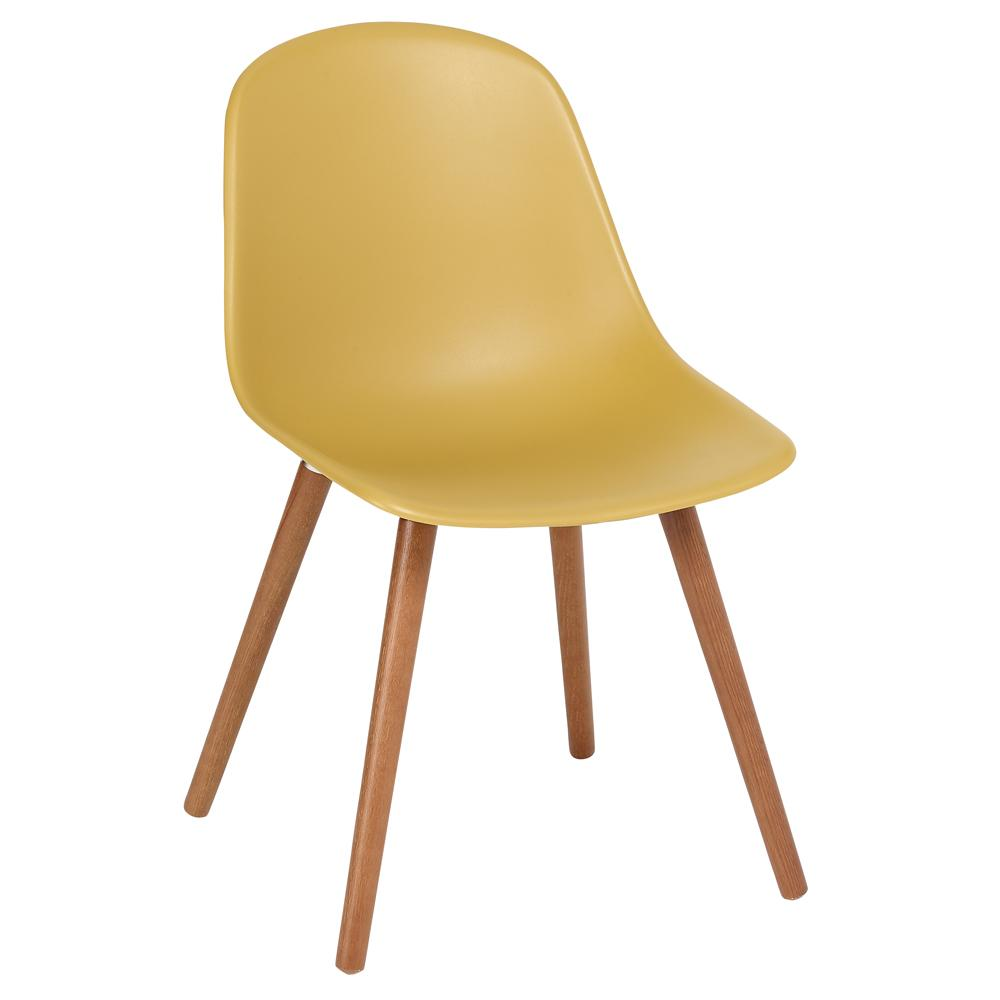 Plex dining chair with walnut leg mustard