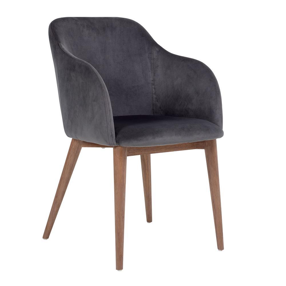 Dip dining chair grey velvet