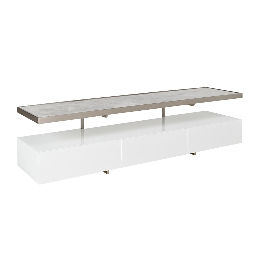 Magro floating shelf TV unit white and light grey ceramic