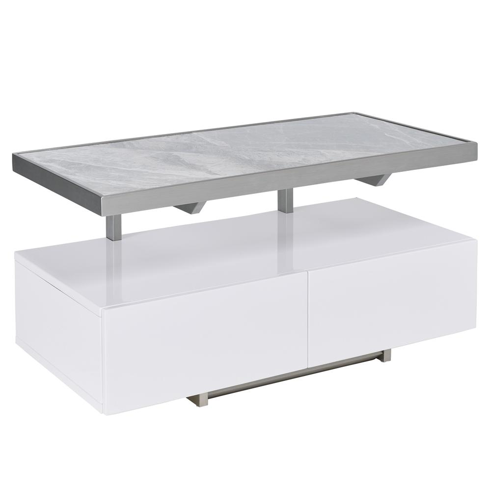 Magro floating compact TV unit white and light grey ceramic