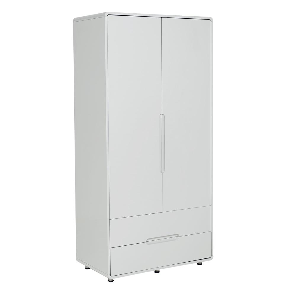 Notch II wardrobe two door with drawers light grey