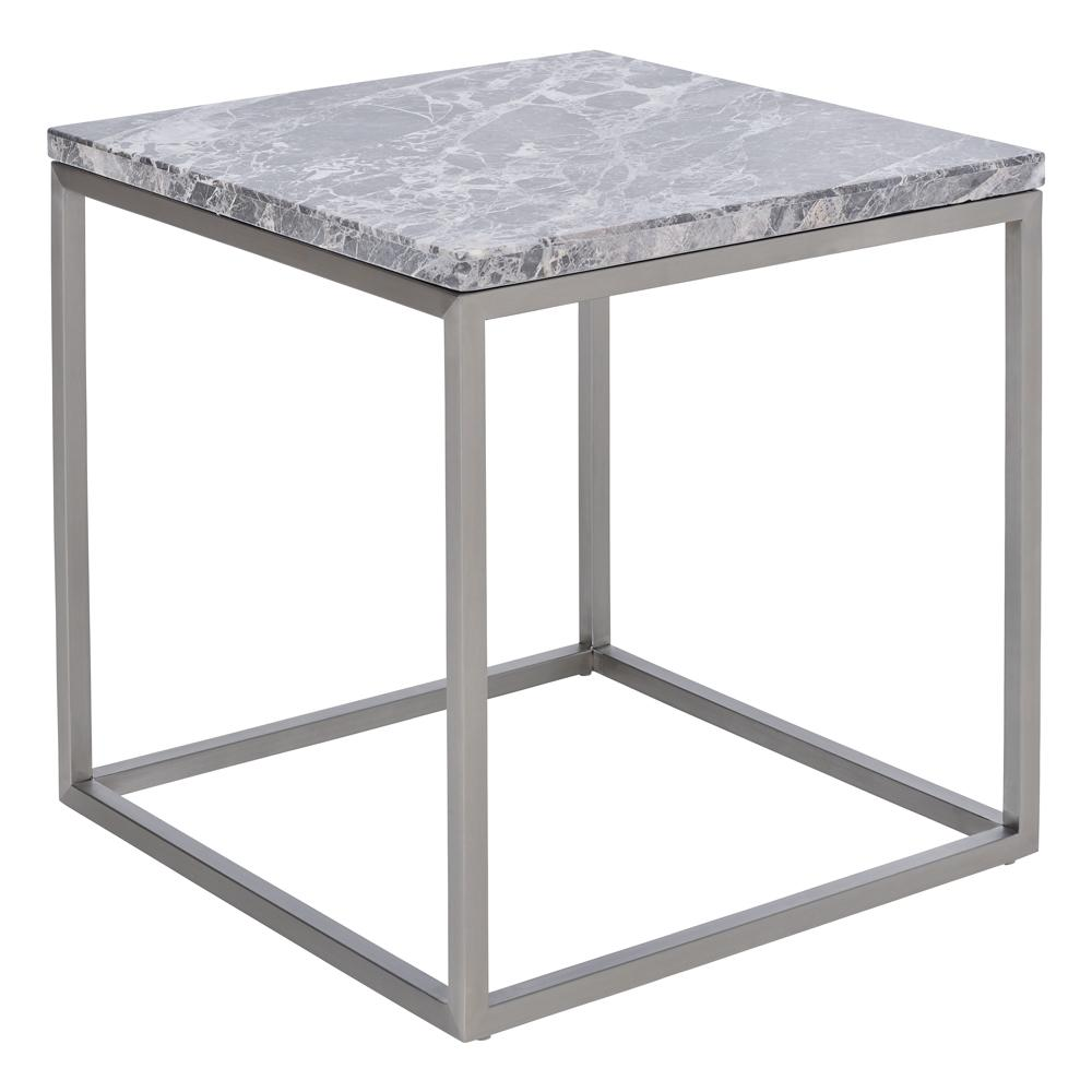 Cadre marble side table light grey