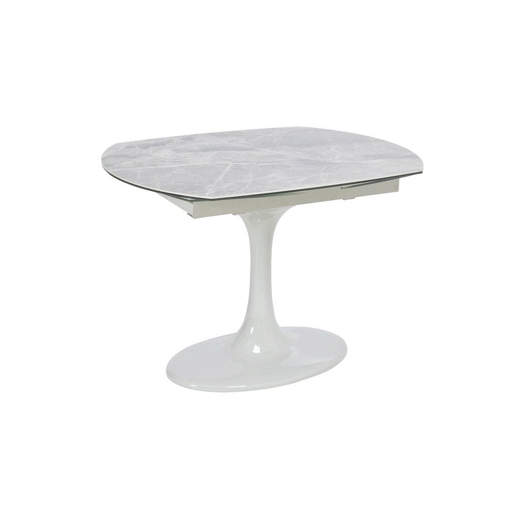 Lille marble ceramic extending 4-6 seater dining table light grey