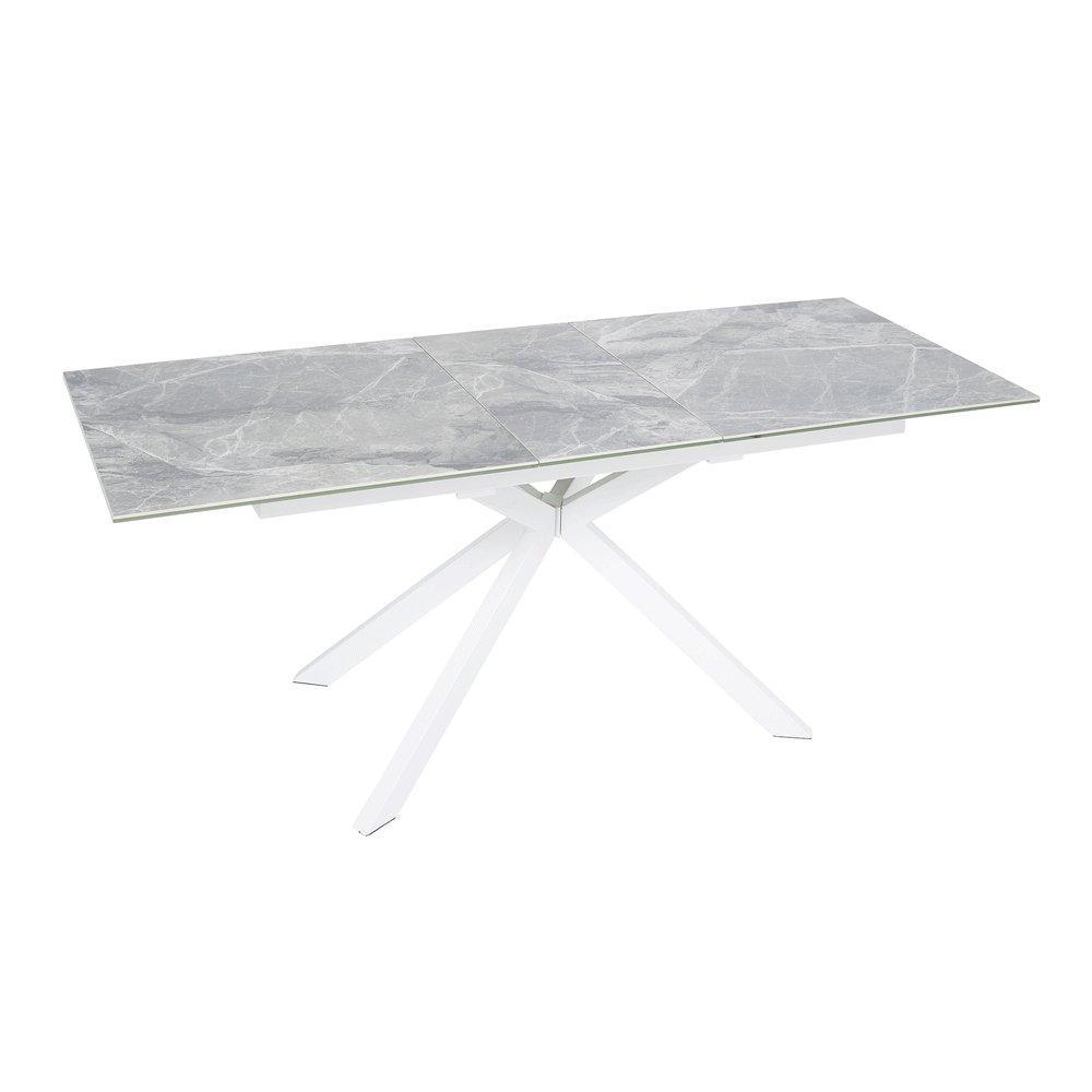Bolzano extending 6-8 seater dining table light grey marble ceramic