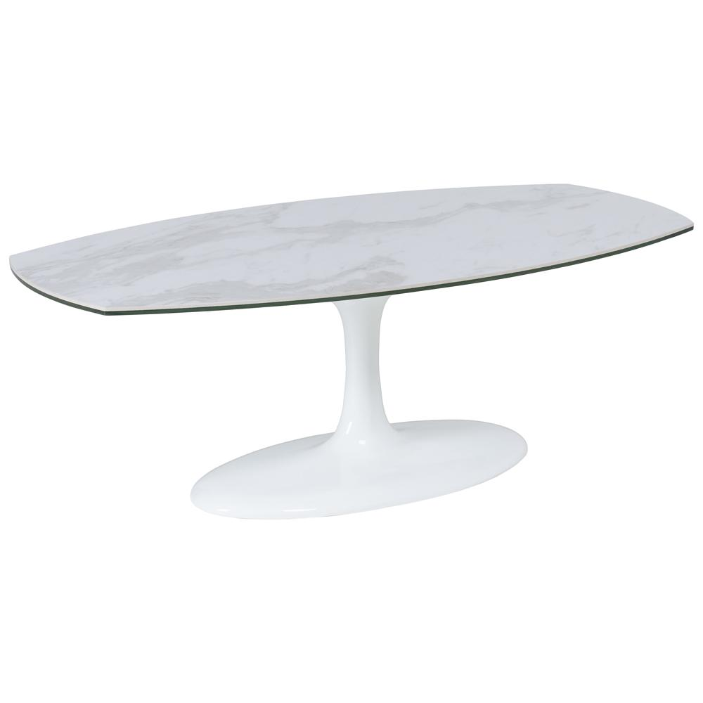 Lille marble ceramic coffee table white