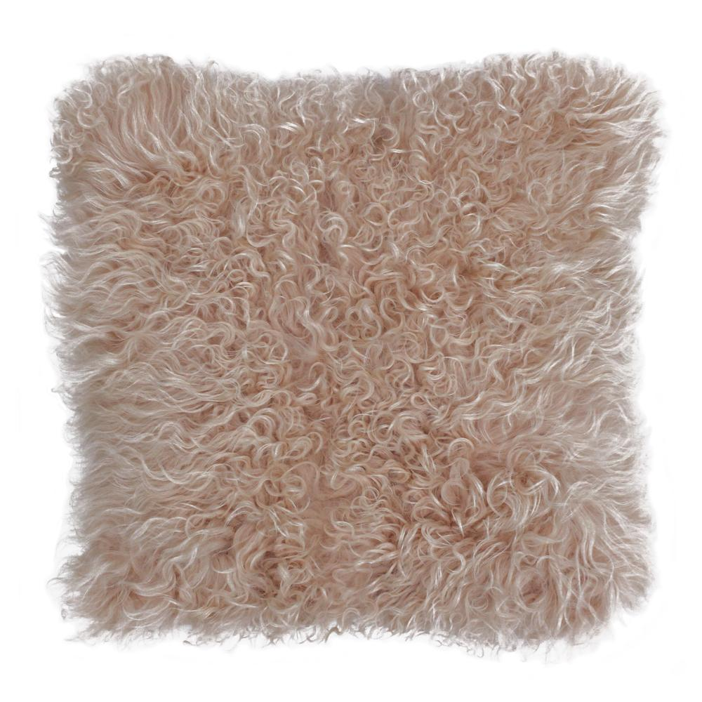 Mongolian sheep cushion blush pink