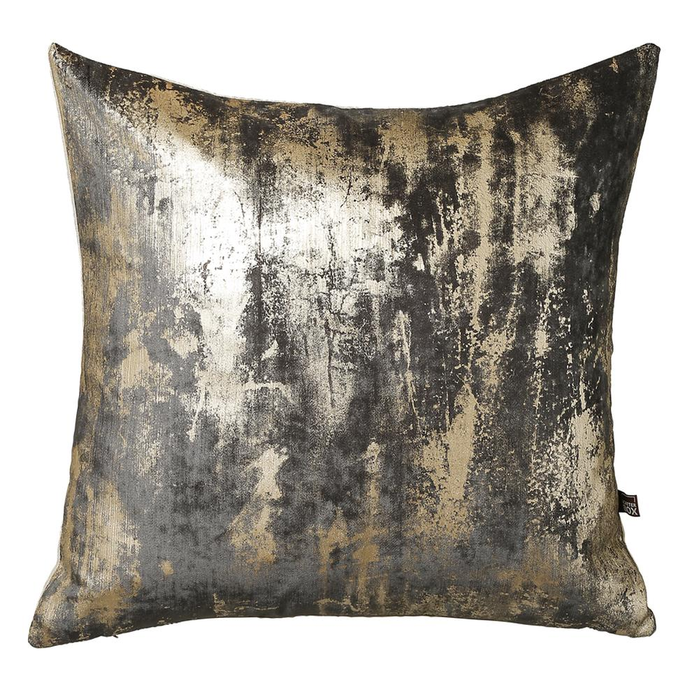 Otello metallic velvet cushion grey