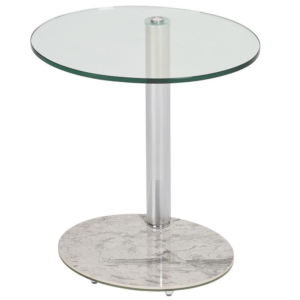 Tomasz II side table oval light grey marble ceramic base