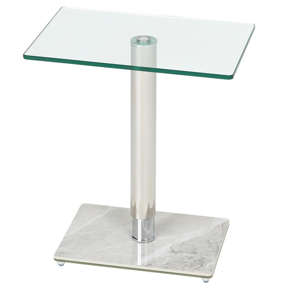 Tomasz II side table rectangle white marble ceramic base