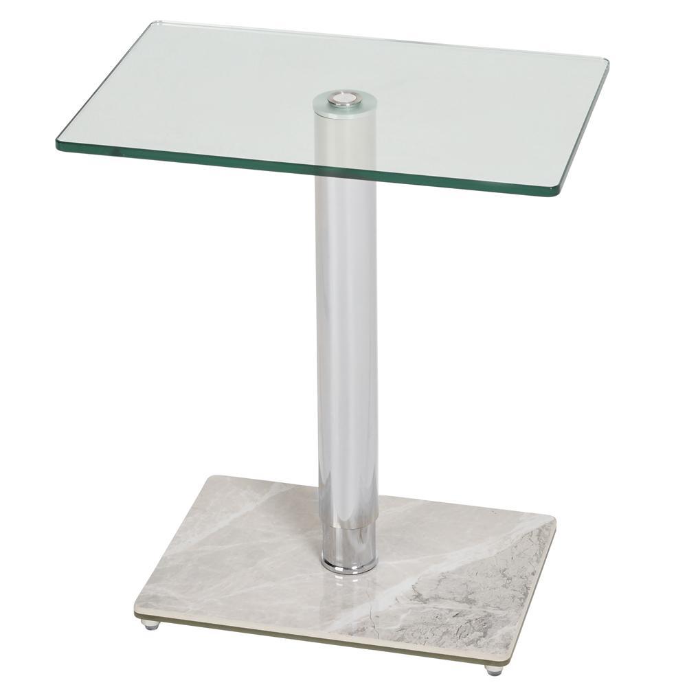 Tomasz II side table rectangle light grey marble ceramic base