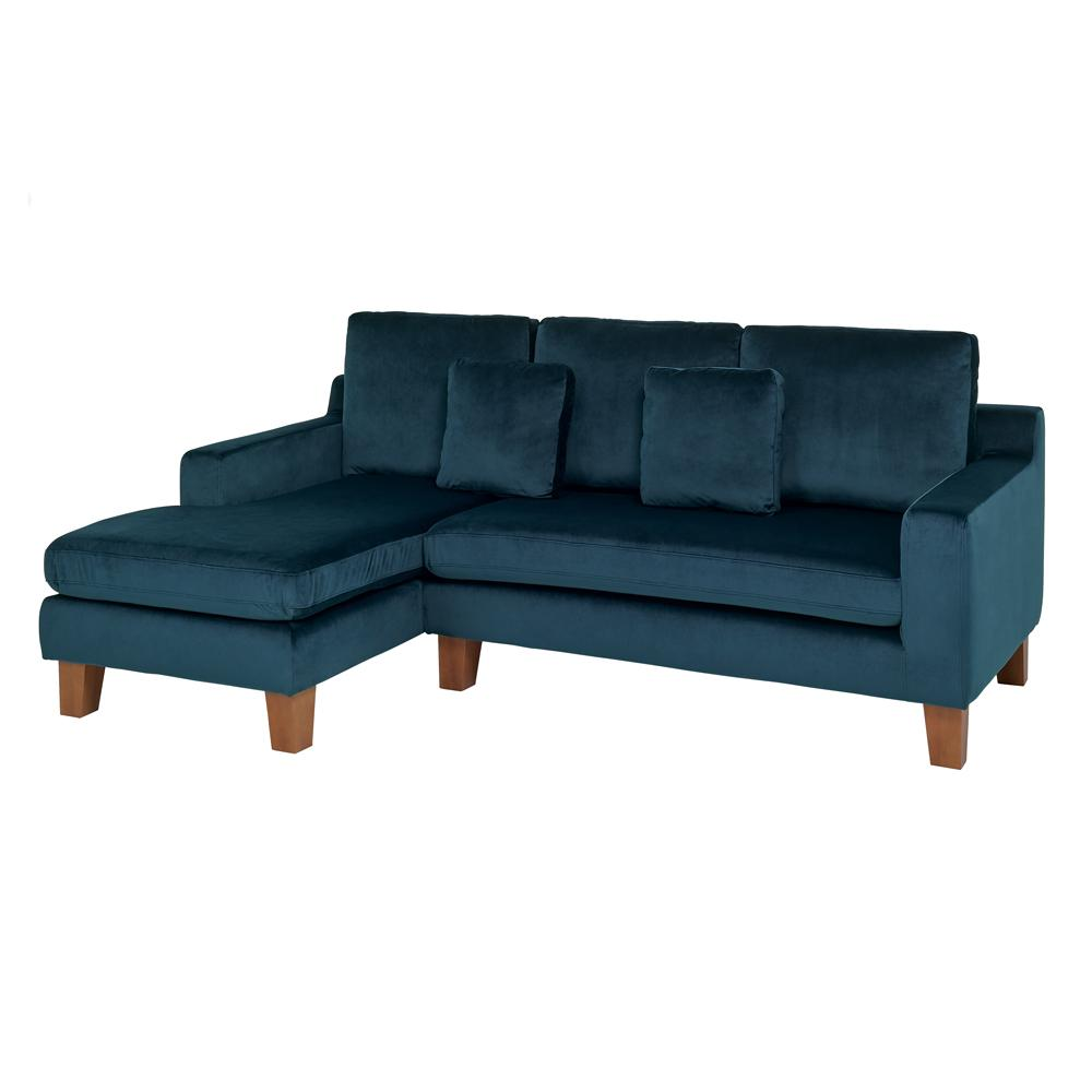 Ankara II left hand facing three seater chaise sofa alba velvet blue