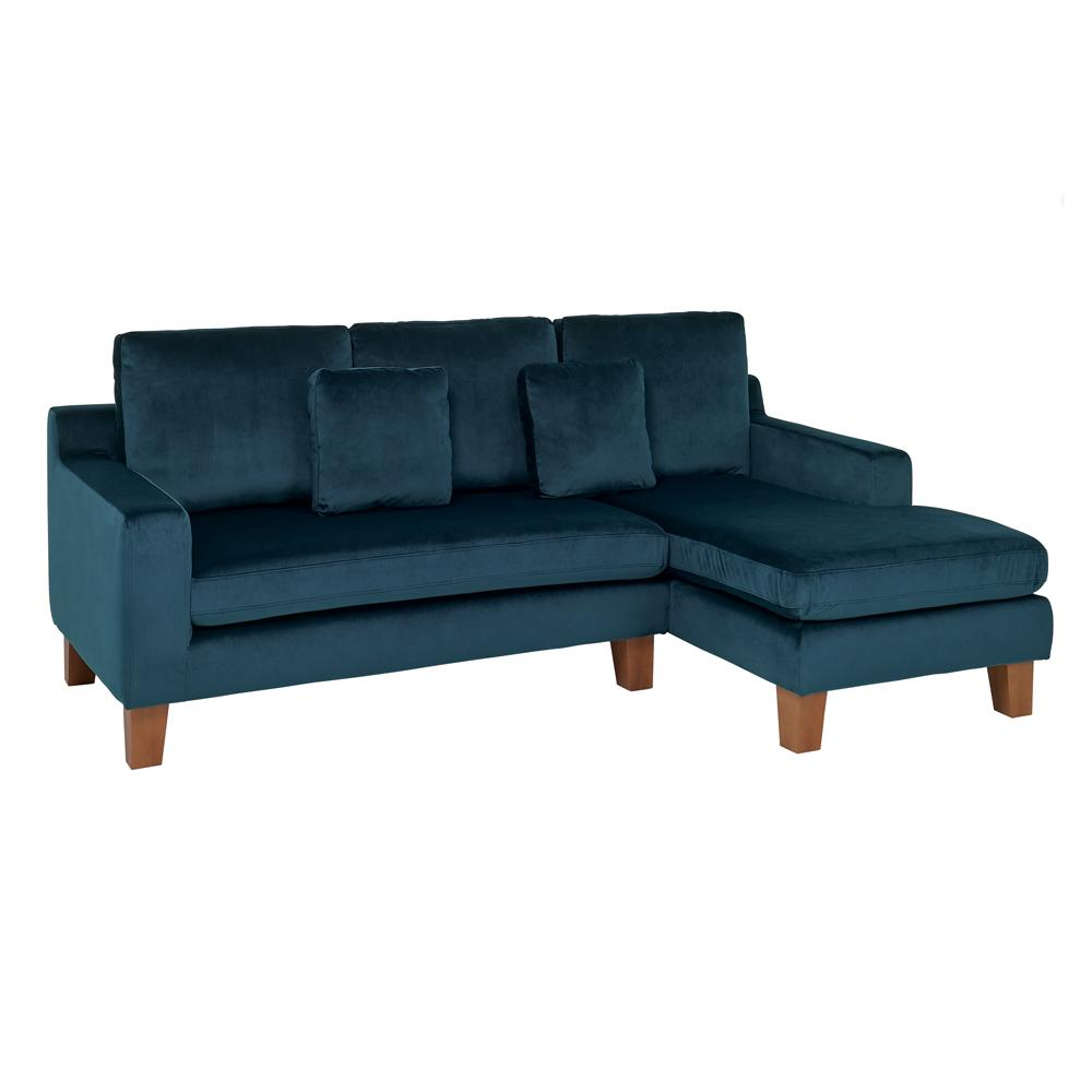 Ankara II right hand facing three seater chaise sofa alba velvet blue