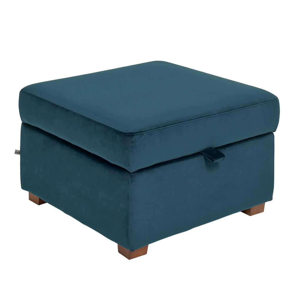 Ankara II storage footstool alba velvet blue