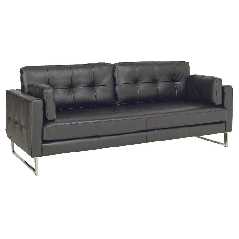 Paris II four seater sofa grano leather jet black