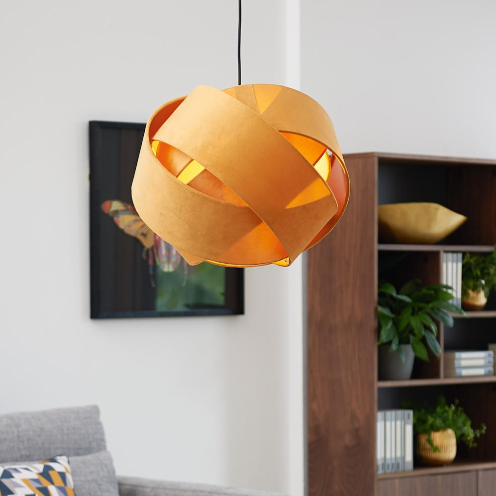 Knot velvet pendant light yellow