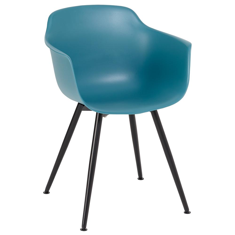 Plex dining armchair teal with black leg