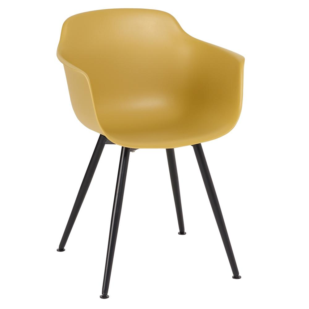 Plex dining armchair mustard with black leg