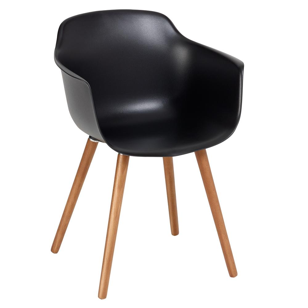 Plex dining armchair black with walnut leg