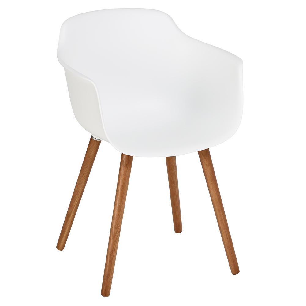 Plex dining armchair white with walnut leg