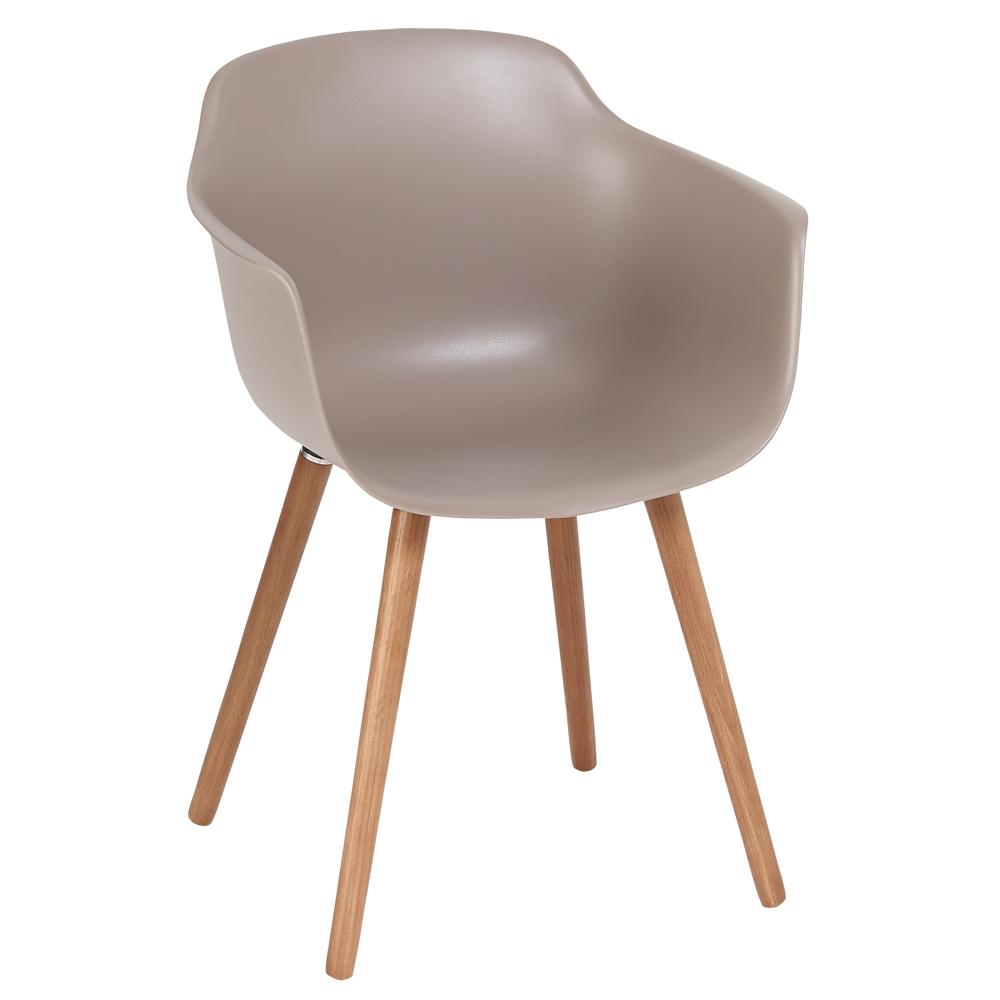 Plex dining armchair stone with walnut leg