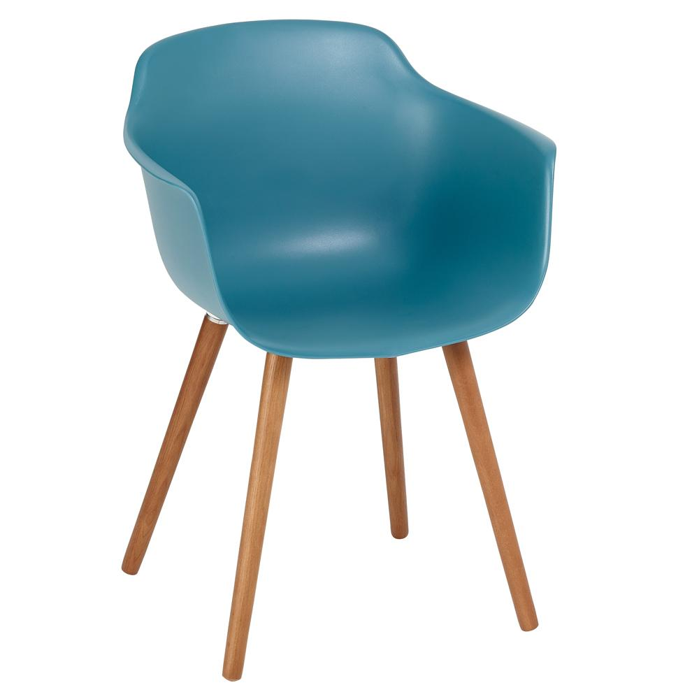 Plex dining armchair teal with walnut leg