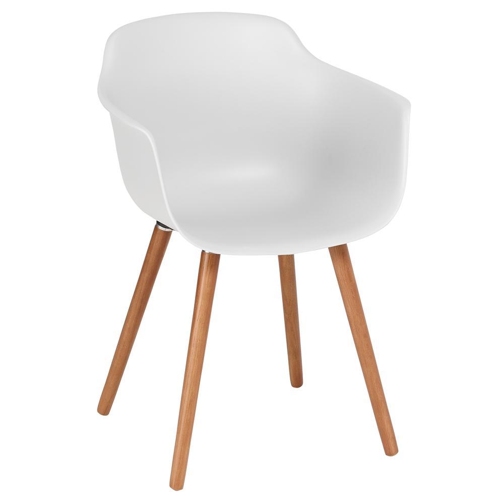 Plex dining armchair light grey with walnut leg
