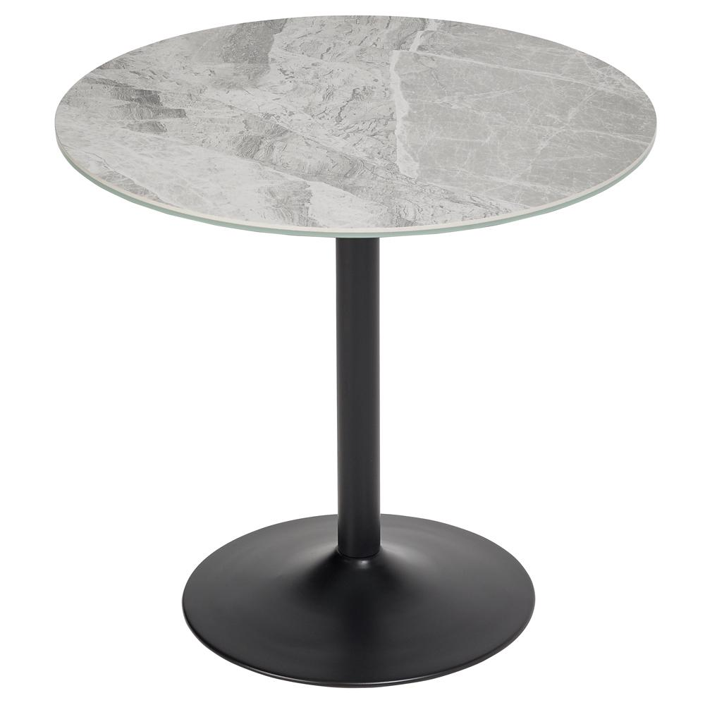 Tersus marble effect 2-3 seater dining table with black leg