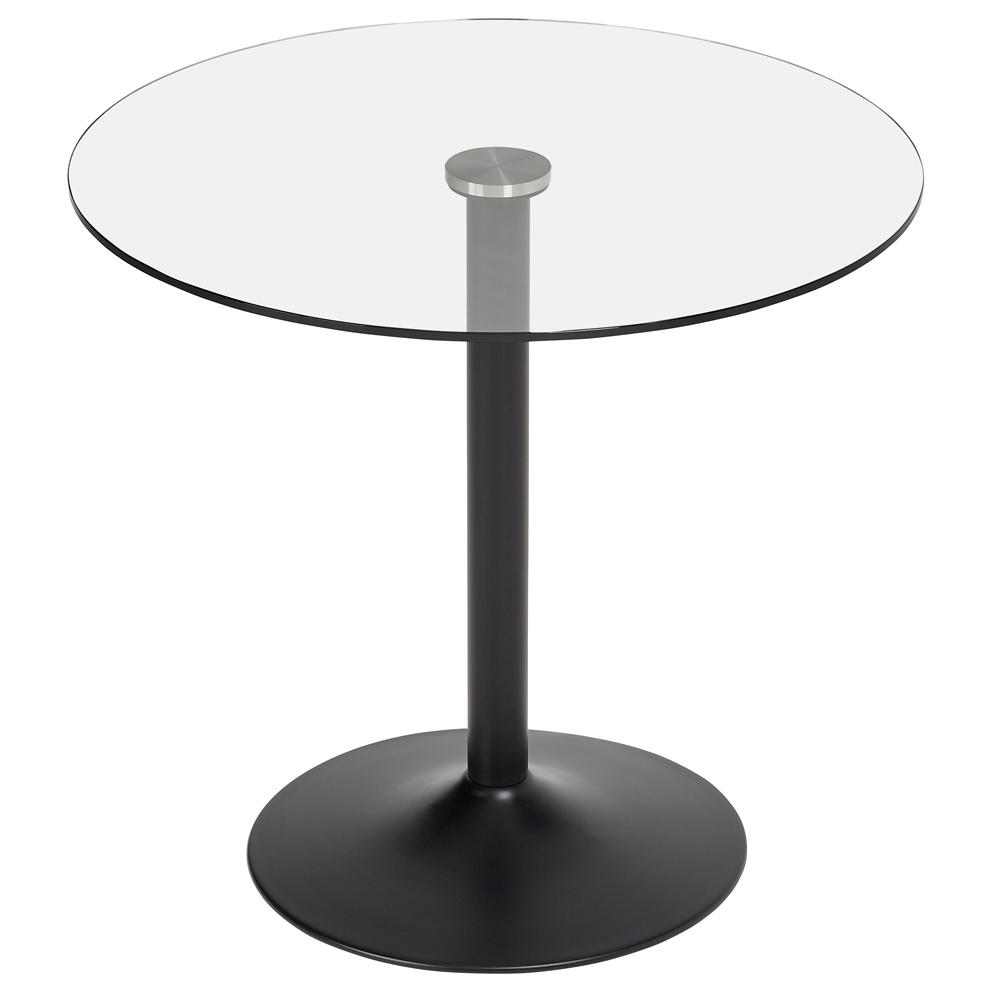 Tersus 2-3 seater dining table clear with black leg