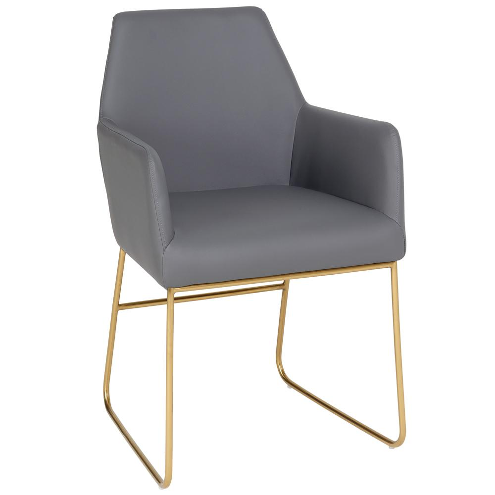 Trono dining armchair with brass leg grey