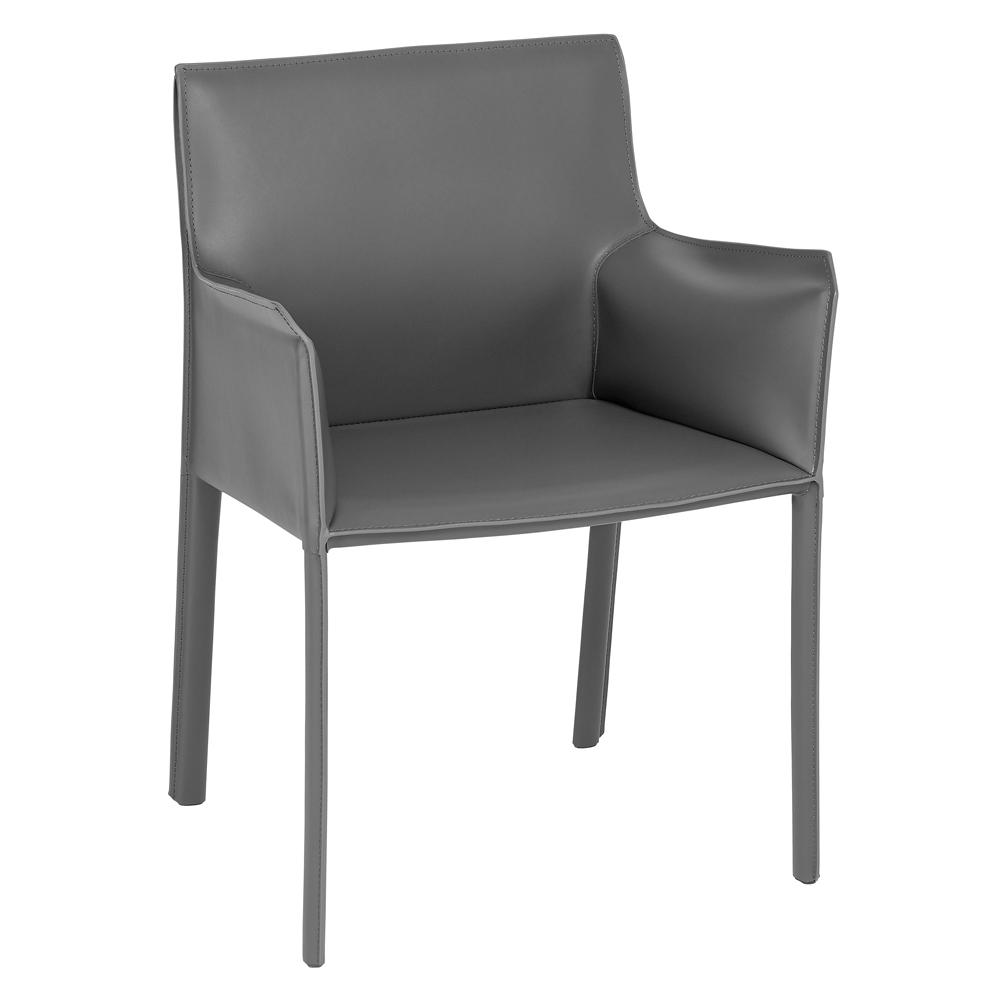 Sillon leather dining chair grey