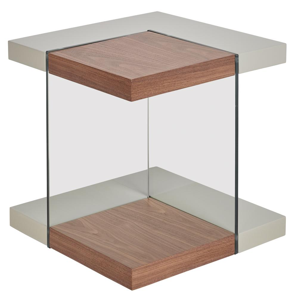 Sturado side table walnut and light grey