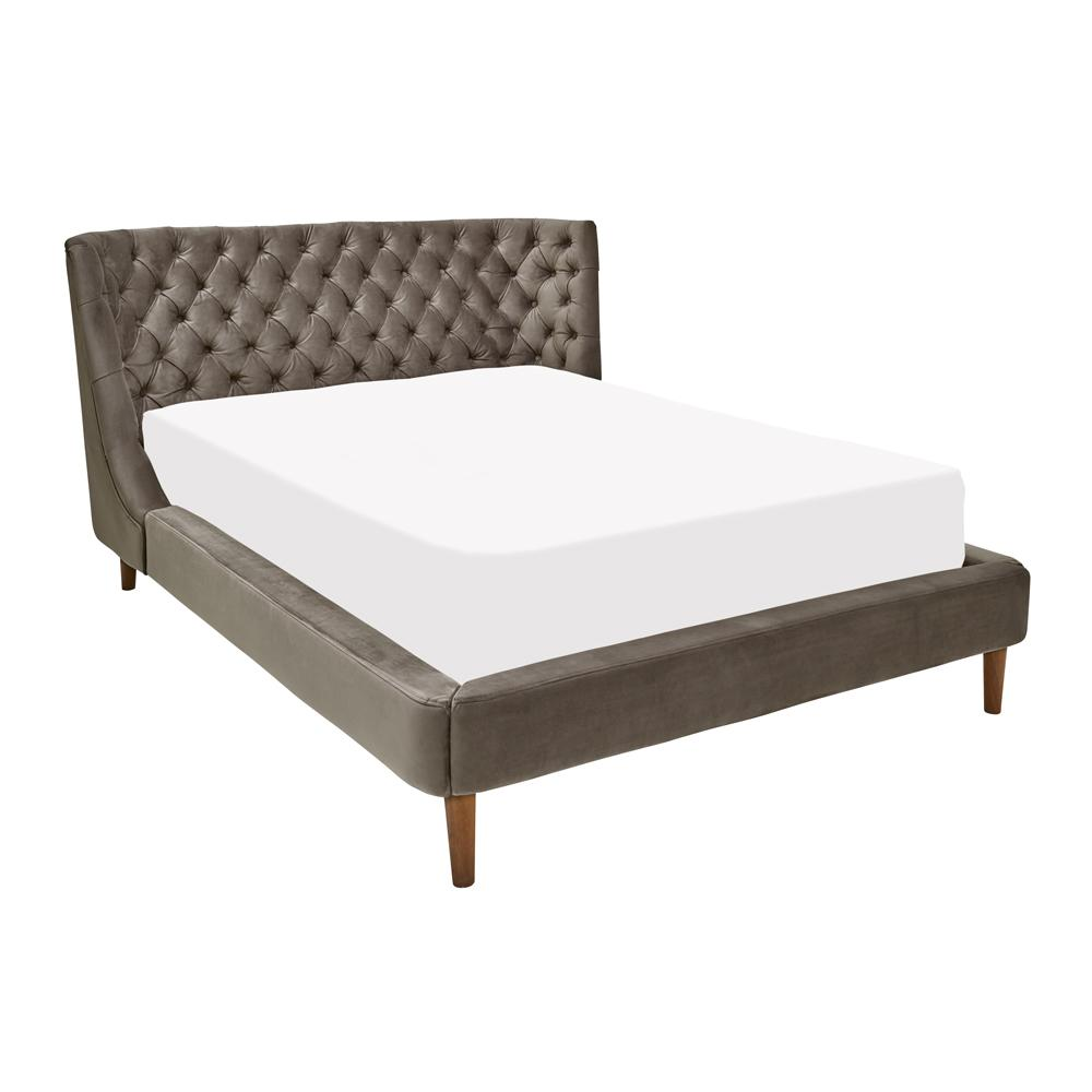 Cavendish II velvet double bed grey