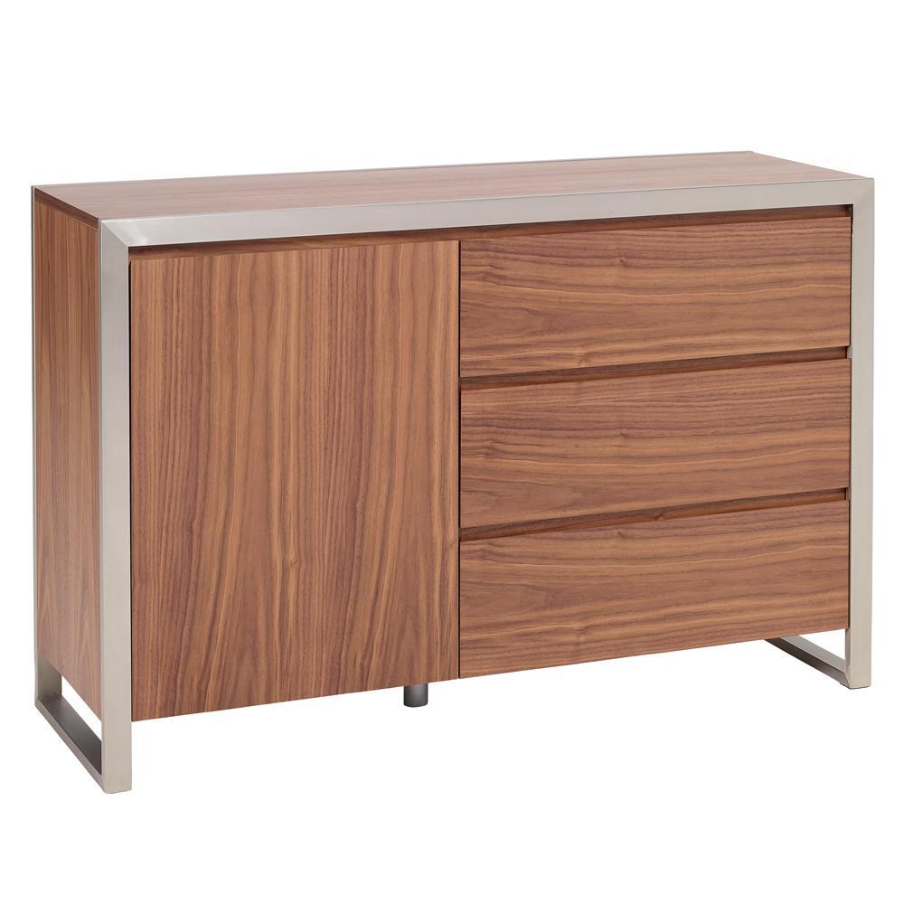 Steel frame compact sideboard walnut