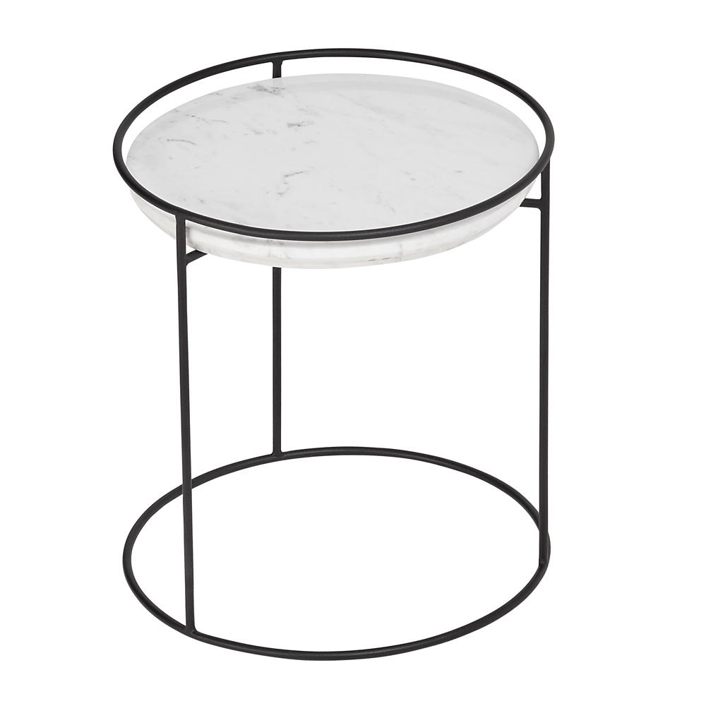 Anello marble side table black leg