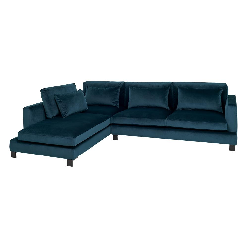 Lugano II right hand facing arm corner sofa alba velvet blue
