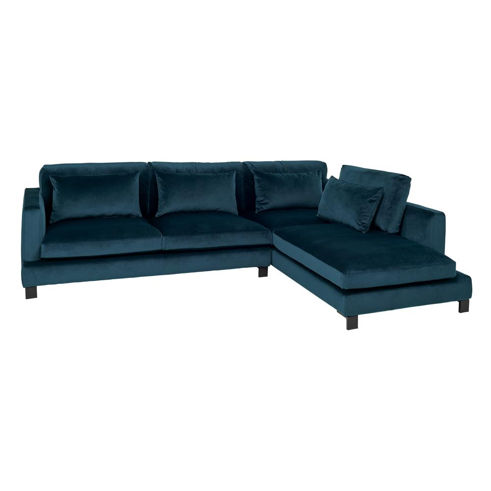 Lugano II left hand facing arm corner sofa alba velvet blue