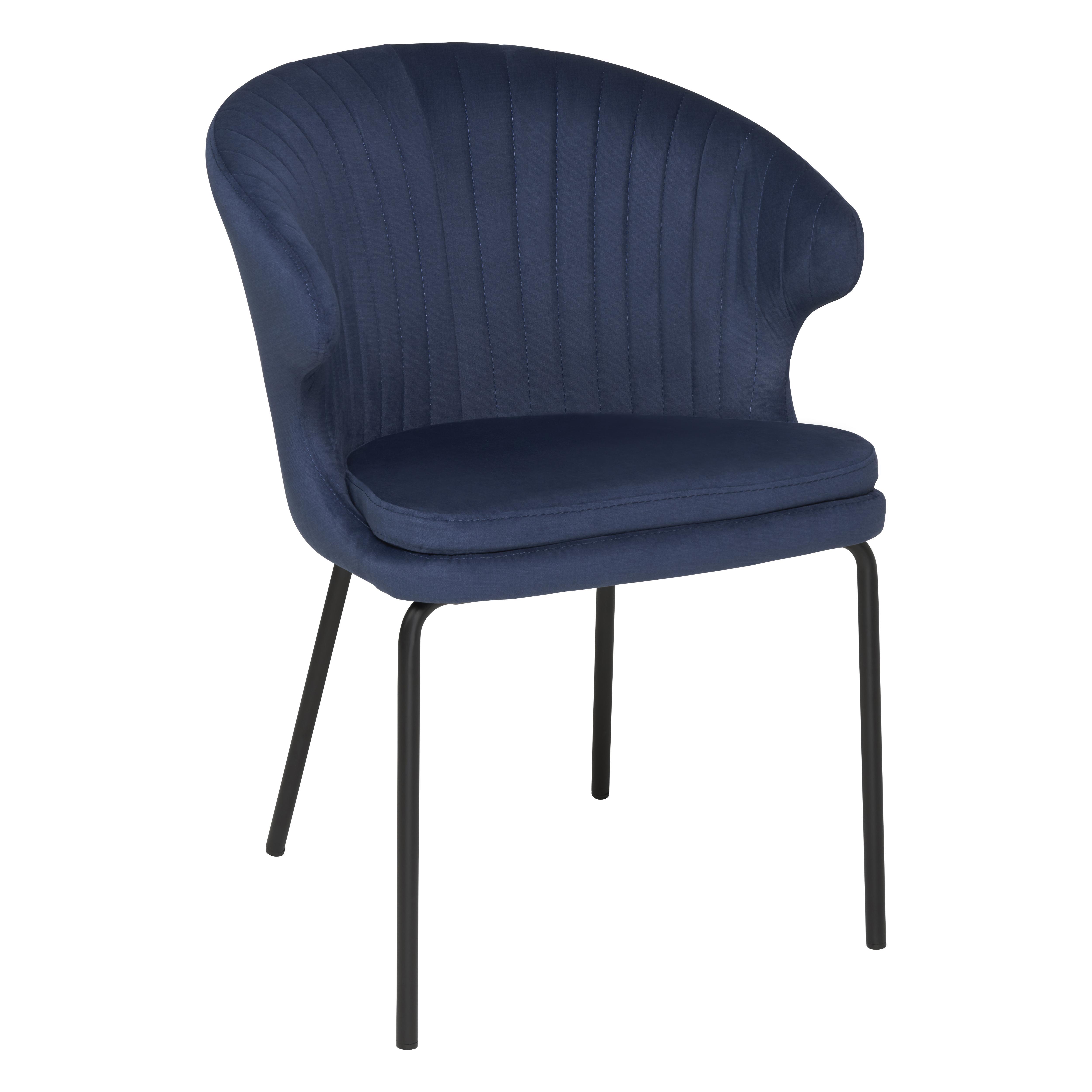 Pecten scallop dining chair blue distressed velvet